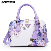 BESTFORM Bags For Women 2019 Printed Floral Luxury Handbag Crossbody Female Shoulder Bag Leather Shell Elegant Famous Brand