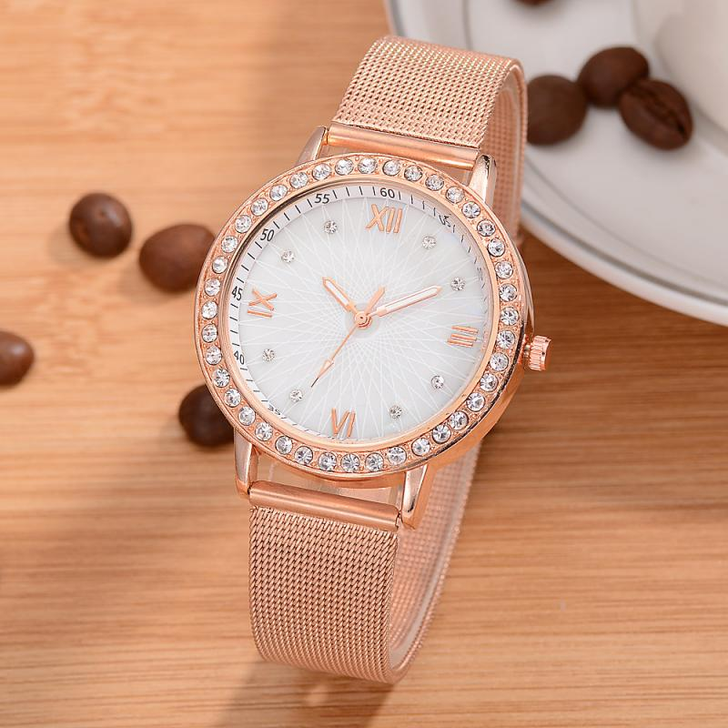 Fashion Rose Gold Women Watch Luxury Diamond Woman Watch Rhinestone Stainless Steel Mesh Belt Ladies Watch Women  Female Clock