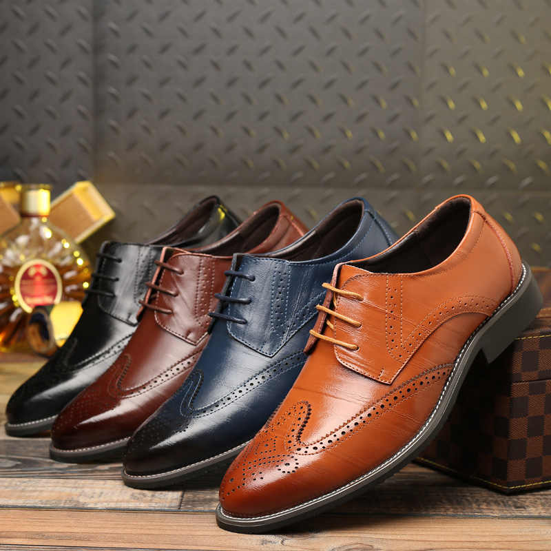 Male Casual Cow Genuine Leather Shoes Men's Oxfords Brogue Shoes Formal Office Business Party Men Dress Shoes Big Size 47 48