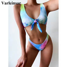 Bikini brasileño anudado de colores para mujer, traje de baño femenino, conjunto de Bikini de dos piezas, bañador V2581