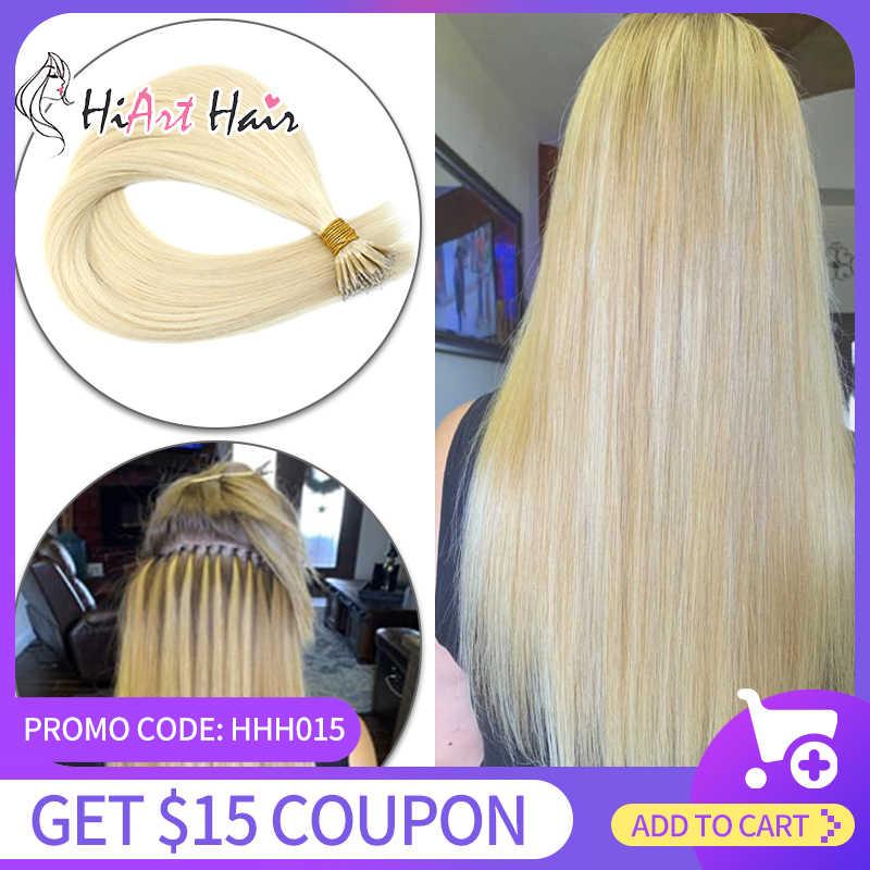 """Hiart 0.8g nano anel extensões no salão de extensão do cabelo humano cabelo natural micro anel cabelo duplo desenhado em linha reta 18 """"20"""" 22"""""""