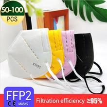 Masque de protection pour adultes, 5 couches, tissu noir, FFP2, KN95, filtre, respirateur, 50 à 200 pièces