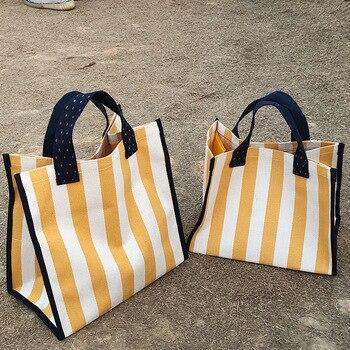 Bolso de playa grande para mujer, bolsa de lona a rayas, impermeable,...