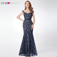 Vintage Lace Evening Dresses Ever Pretty Double V Neck Hollow Out Navy Blue Formal Dresses Elegant Mermaid Party Gowns 2019