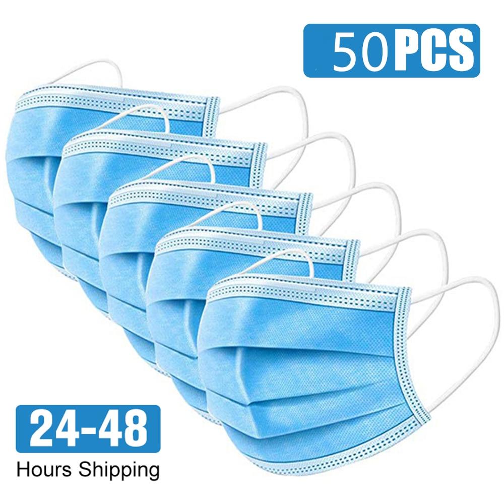 55.92руб. 57% СКИДКА|50/100 шт одноразовая Защитная маска для лица 3 слойная защита от пыли Защитная маска респираторная маска с ушными петлями|Маски| |  - AliExpress