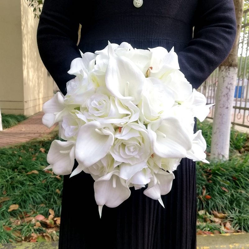 Simple Round White Roses Wedding Flowers Real Touch Calalily Bridesmaid Bridal Bouquet Deco Mariage