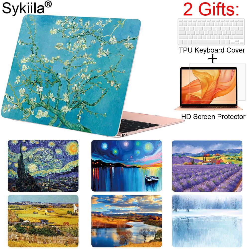 Sykiila caso para macbook air 11 13 pro 12 13 15 capa a óleo arte pintura escudo a1706 a1707 a1989 barra de toque 2019 gogh mármore