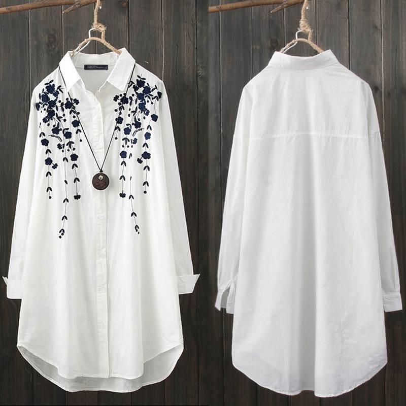 Elegant Print Shirt Women's Casual Blouse ZANZEA Fashion Button Down Floral Blusas Female Lapel Work Blusas Plus Size Tunic Tops