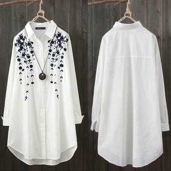 Elegant Print Shirt Women's Casual Blouse ZANZEA Fashion Button Down Floral Blusas Female Lapel Work Blusas Plus Size Tunic Tops цена 2017