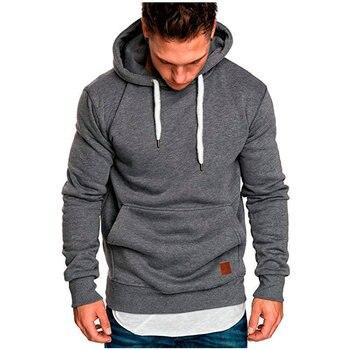 цена Men's  Hoodie Simple New Fashion Men's Sweatshirt Solid Color Slim Sportswear Men's Hoodie Seven-color S-XXL онлайн в 2017 году