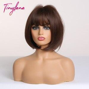 Image 3 - Perucas sintéticas com franja para mulheres curto bob peruca resistente ao calor bobo penteado para cosplay