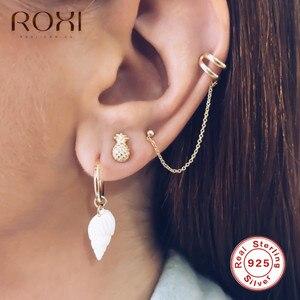 ROXI 2020 Minimalist Dot Earrings Long Women 925 Sterling Silver Chain Earrings for Women Ear Cuff Cartilage Ear Clip Jewelry