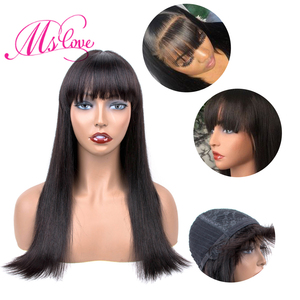 Image 2 - Straight Human Hair Wigs With Bangs For Black Women Brazilian Wig Natural Color 18 Inch Ms Love Non Remy