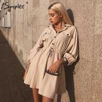 Simplee biancheria Elegante breve donne del vestito della camicia di cotone A maniche Lunghe bottoni del vestito femminile abiti Vintage estate abiti casual