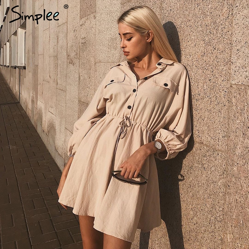 Simplee Женское винтажное льняное короткое платье, из хлопка, с длинным рукавом и пуговицами, женское повседневное платье цвета хаки для лета, 2019