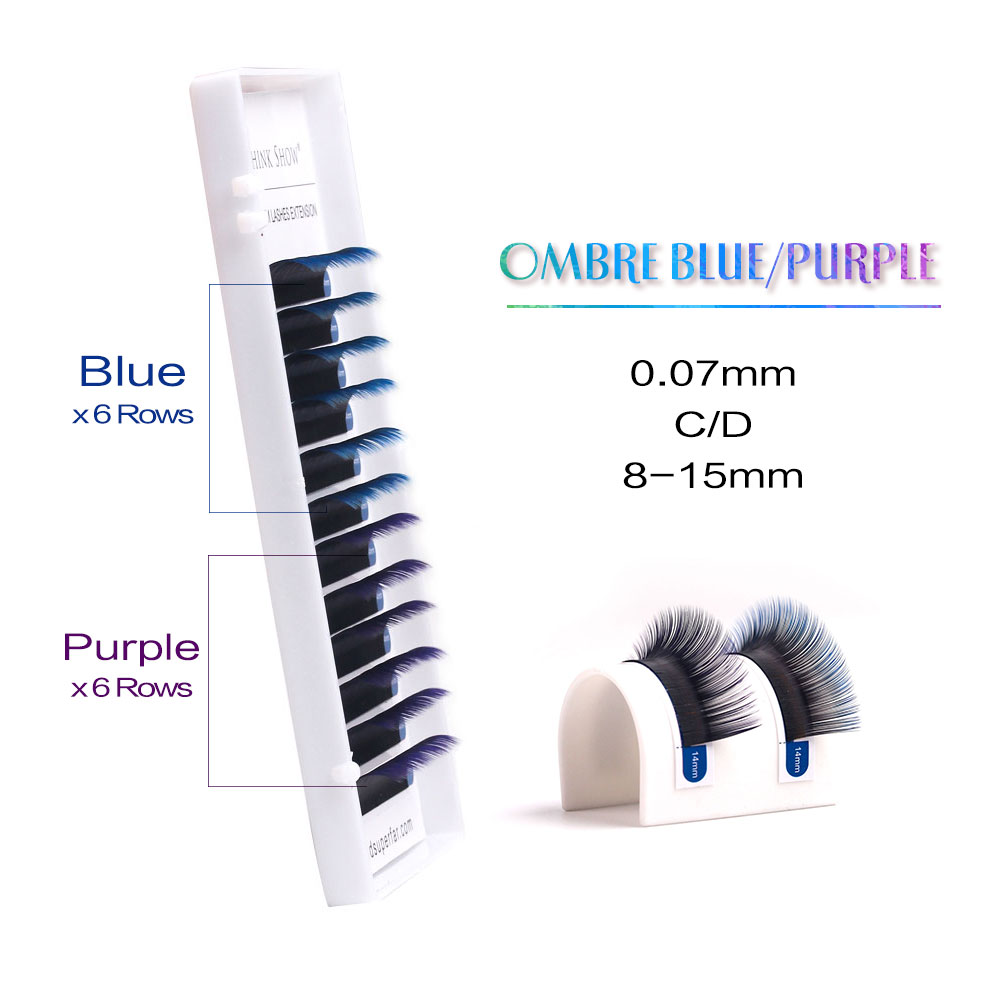 Newcome Ombre Mix Color C D Curl Eyelash Extension Individual False Eye Lashes Professional Salon
