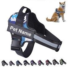 Поводок для собак без тяги Светоотражающая дышащая Регулируемая шлейка для питомцев жилет с ID пользовательский патч для прогулок на открыт...