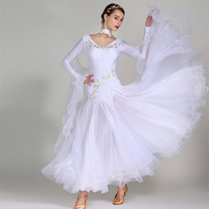 Image 2 - white ballroom dress long sleeves waltz dresses for ballroom dancing foxtrot dance dress standard ball dress sequins dance wear