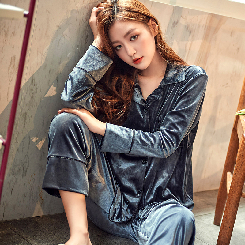 High Quality 2019 New Autumn Winter Warm Pajama Set Women Pajamas Deep Gold Velvet Homewear Pijama Mujer Elegant Solid Sleepwear