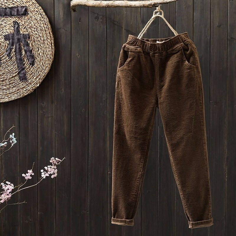 New 2019 Spring Autumn Women Pants Plus Size Corduroy Harem Pants All-matched Casual Black Loose Trousers Top Quality D504