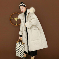 Fashion Real Raccoon Fur Collar Large Size Down Parka Winter Female Warm Long Coat For Girl Loose Women Coats Duck Outerwear