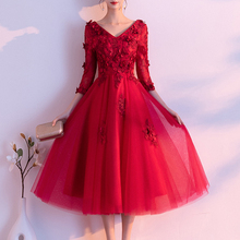 Party Dress Bridesmaid-Dress Prom-Gown Wedding New V-Neck Wine Red A-Line Half Flowers