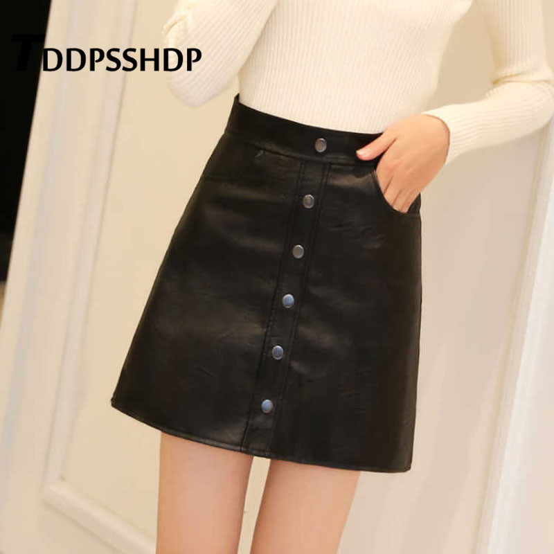 Single Breasted High Waist Pu Leather Women Skirt 2019 Young Lady Package Hip Female Skirts image