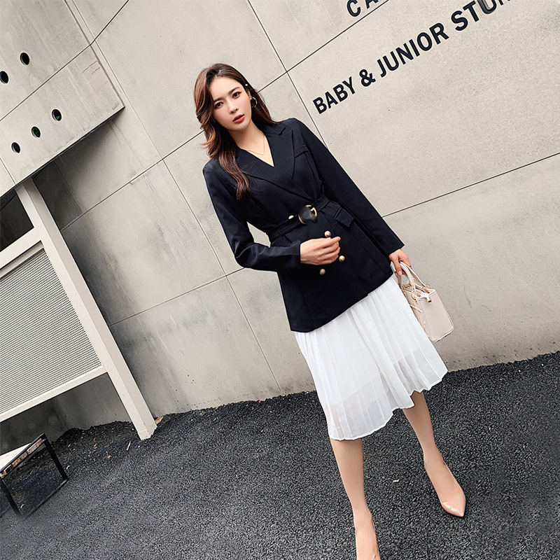 CHIC Small Suit Coat Women's Korean-style Loose-Fit British-Style Suit Pleated Skirt Two-Piece Set Teachers Professional