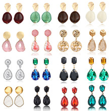 Korean Fashion Earrings For Women ZA Multi-Color Resin/Crystal Water Drop Earrings Boho Handmade Long Statement Hanging Jewelry(China)