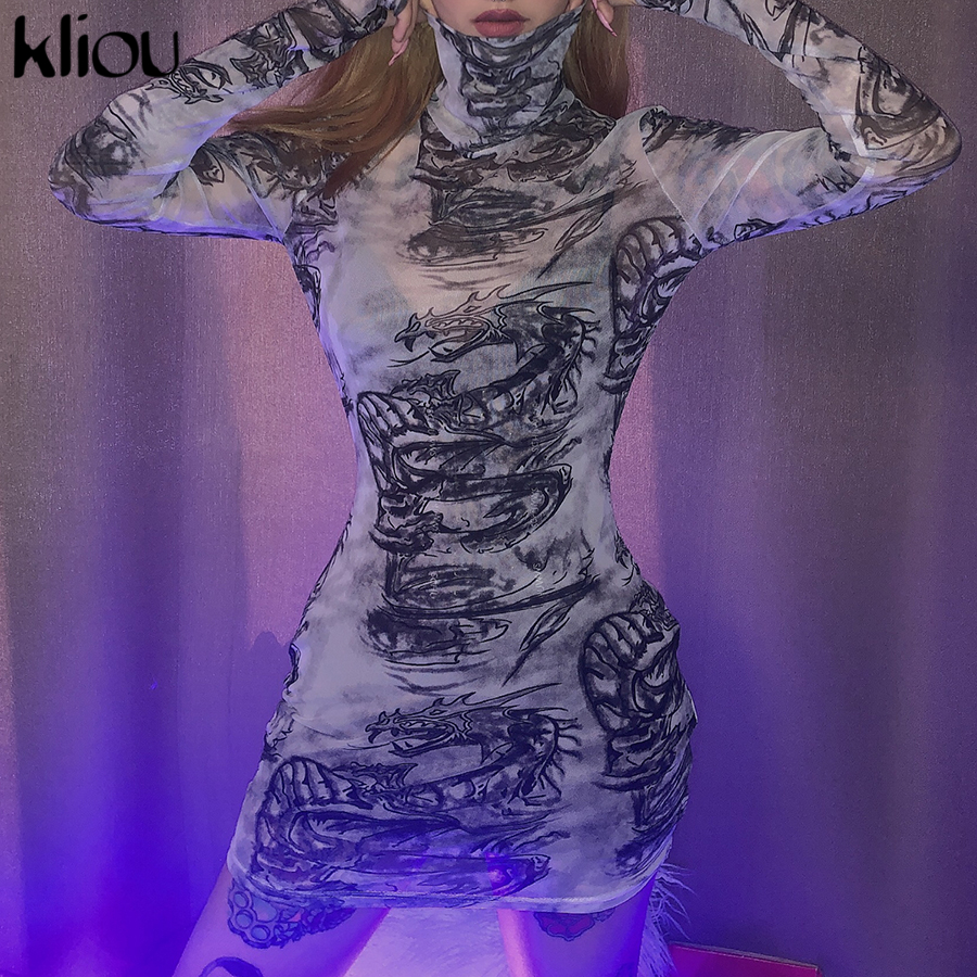 Kliou women turtleneck dress sexy mesh material print slim skinny dresses autumn new long sleeve female fashion skinny outfits 5