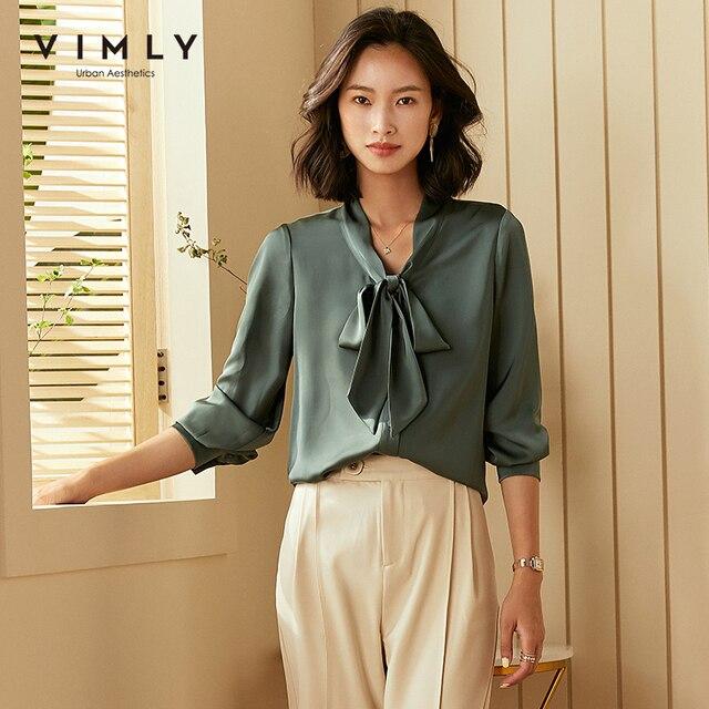 Vimly Office Ladies Elegant Women Blouse Fashion Bow Long Sleeve Formal Shirt 2020 Vintage Blusas Femininas F5795 3