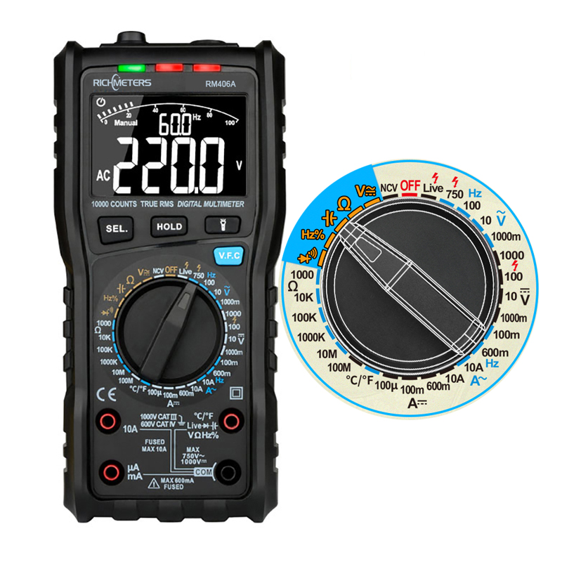 RM406A Digital Multimeter Analog Tester Capacitance DC DC 10000 Counts Multimetro Digital Profissional Anti-burn Alarm