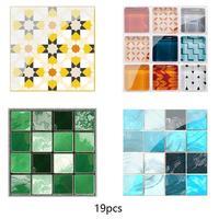 19Pcs Mosaic Tile Wall Sticker Self Adhesive Pvc Waterproof Tiles Decals Diy Kitchen Bathroom Home Wall Sticker Vinyl 3D