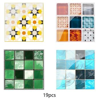 19Pcs Mosaic Tile Wall Sticker Self Adhesive Pvc Waterproof Tiles Decals Diy Kitchen Bathroom Home Wall Sticker Vinyl 3D 1