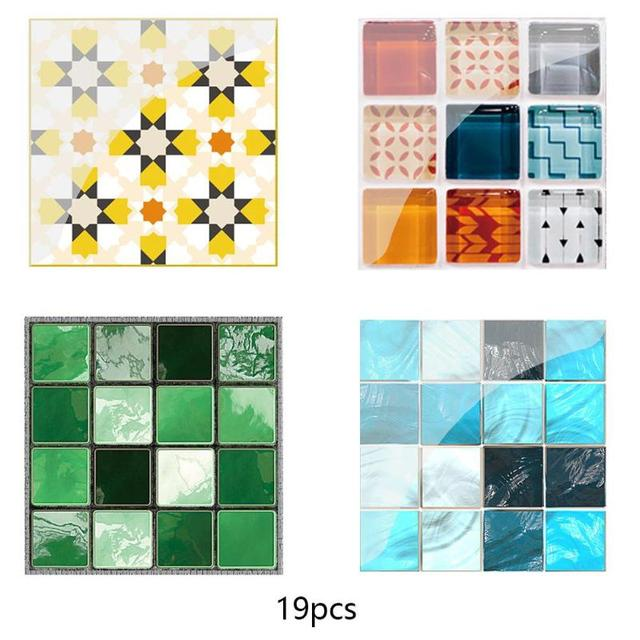 19Pcs Mosaic Tile Wall Sticker Self Adhesive Pvc Waterproof Tiles Decals Diy Kitchen Bathroom Home Wall Sticker Vinyl 3D 1