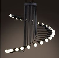 Nordic retro iron industry chandelier modern art stair spiral chandelier cafe bar dining room