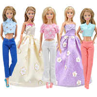 5Pcs/Set Many Styles Fashion Doll Clothes Dress Leisure Fashion Skirt Pants Set For Barbie Doll Accessories Girl Toys Best Gift