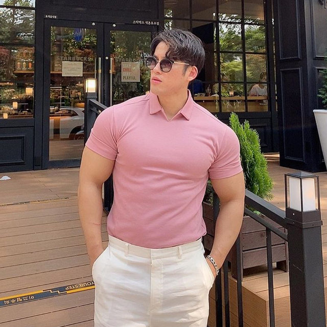 Summer Casual fashion Polo t shirt Men Gyms Fitness Short sleeve T-shirt Male Bodybuilding Workout POLO Tees Tops Clothes 2