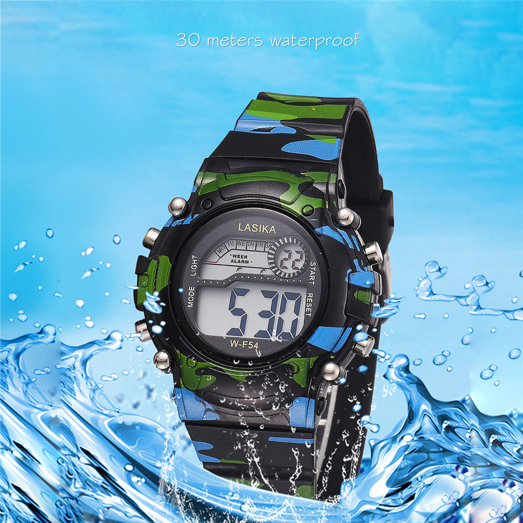 DUOBLA Childrens Watches For Boys Plastic Camouflage Waterproof Sports Black Electronic Children's Multi-Function Watches Kids