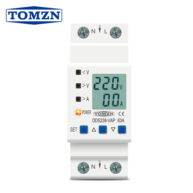 63A 80A 110V 230V Din rail adjustable over under voltage protective device protector current limit protection Voltmeter Kwh