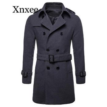 Europe and America Long Wool & Blends Coat Men Autumn Winter Double Breasted Windbreaker Jacket Men Coat Size XXL