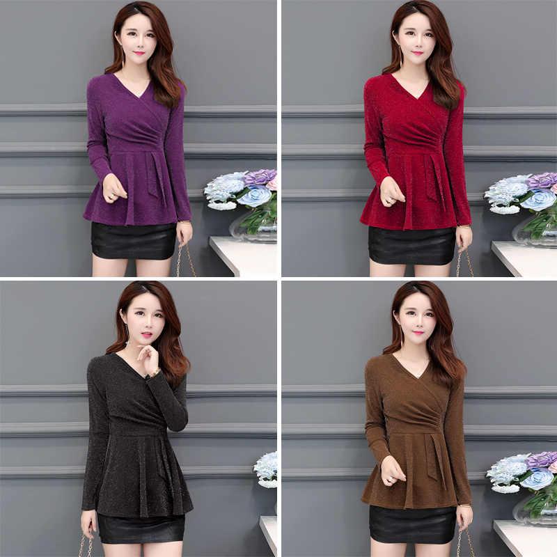 セクシーな高輝度光沢のあるトップファッション秋冬韓国シャツ女性長袖スリムチュニック赤、黒、紫、カーキ L-5XL