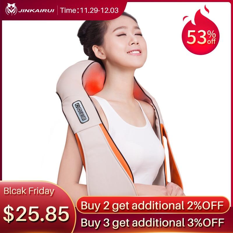 Jinkairui U Shape Car/Home/Office Neck Massager Electrical Shiatsu Shoulder Back Body Massagers Infrared 3D Massagem