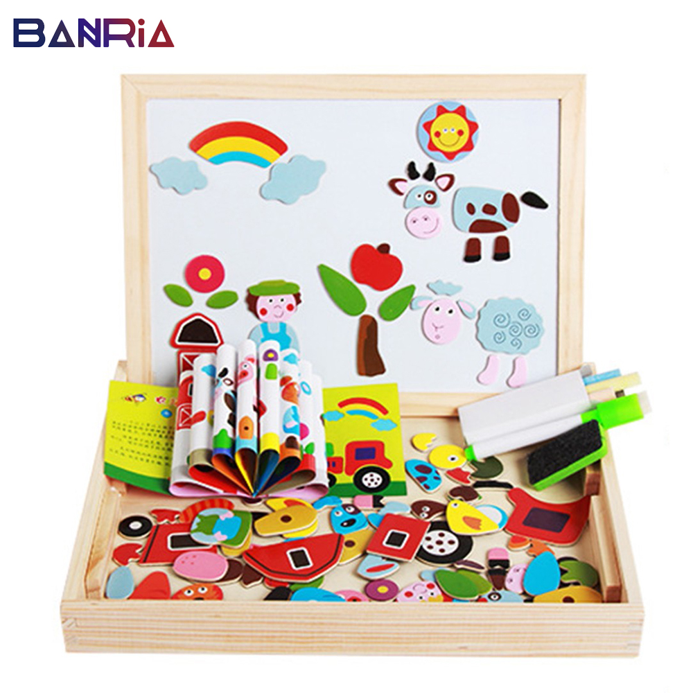 Wooden Magnetic Puzzle Figure Drawing Board 4 Styles Traffic/ Farm/Insect/animals Educational Toy Birthday Gift