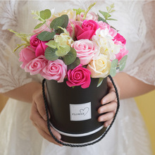 Creative Rose Soap Flower Artificial Bouquet with Black Round Box Brithday Valentines Day Gift Present недорого