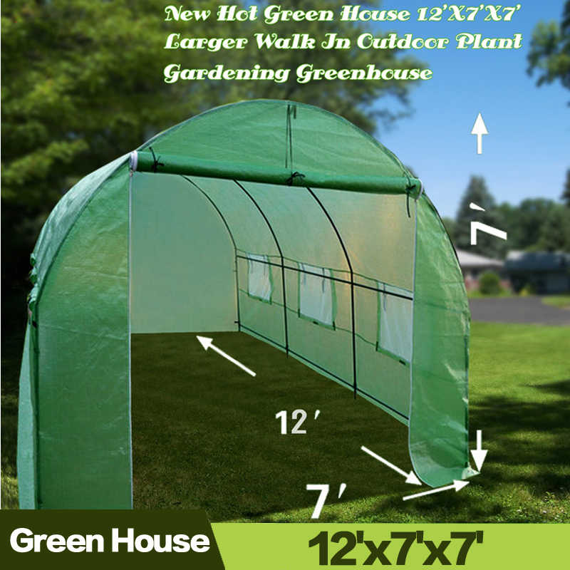 AULAYSED New Hot Green House 12'X7'X7' Larger Walk in Outdoor Plant Gardening Durable Greenhouse Iron Stand Cover