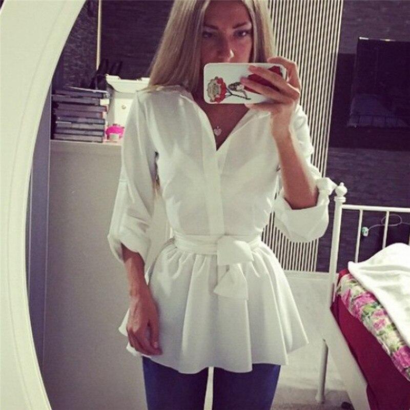 Женское элегантное платье-рубашка с v-образным вырезом, Женская однотонная белая блуза с длинным рукавом для офиса, женский топ на шнуровке