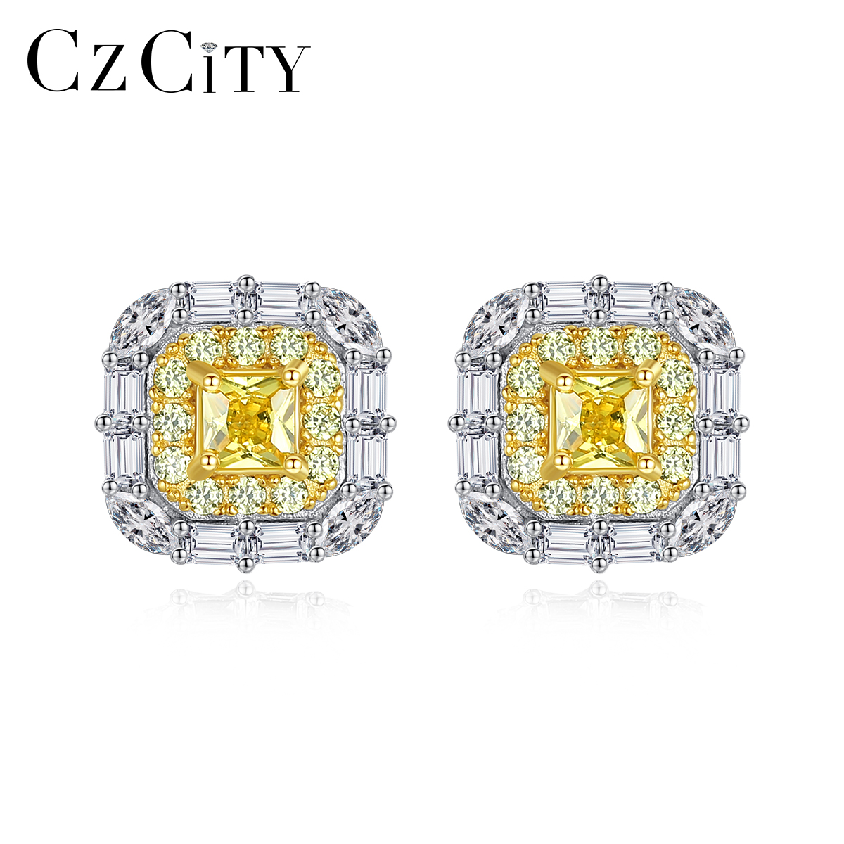CZCITY Square Topaz Gemstone Stud Earrings For Women Wedding Engagement Fine Jewelry 925 Sterling Silver Anillos Christmas Gifts