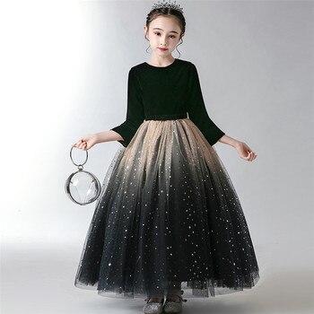 2019Autumn Winter Fashion New Children Girls Evening Party Christmas Festivals Princess Dress Model Shows Catwalk Costumes Dress