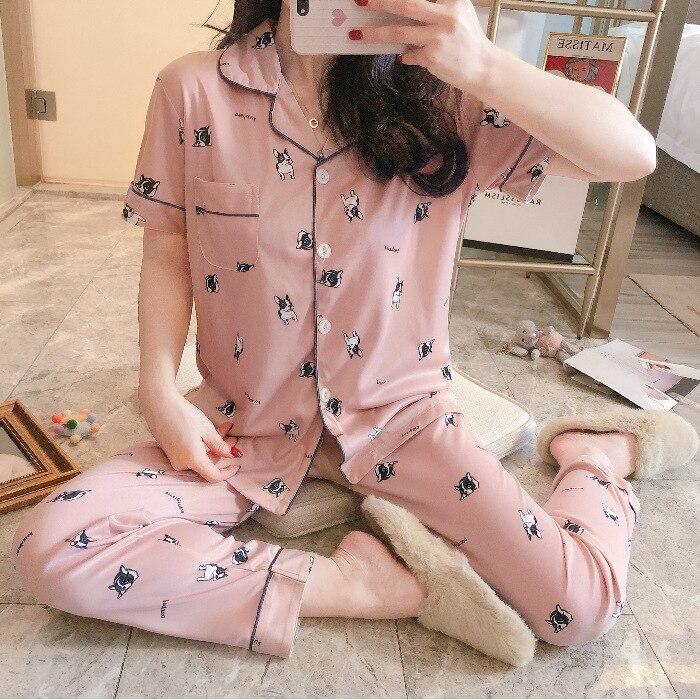 Summer Women's Short Sleeved Trousers Cartoon Women's Cardigan Thin Qmilch Fold-down Collar Casual Homewear Set Pajamas